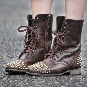 Steve Madden Studded Granny Boot 8.5 Brown Leather